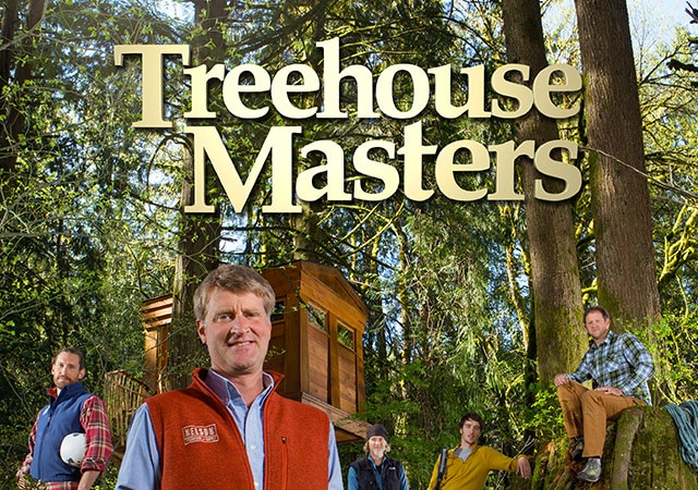 Treehouse Masters - Cast posing with treehouse in forest
