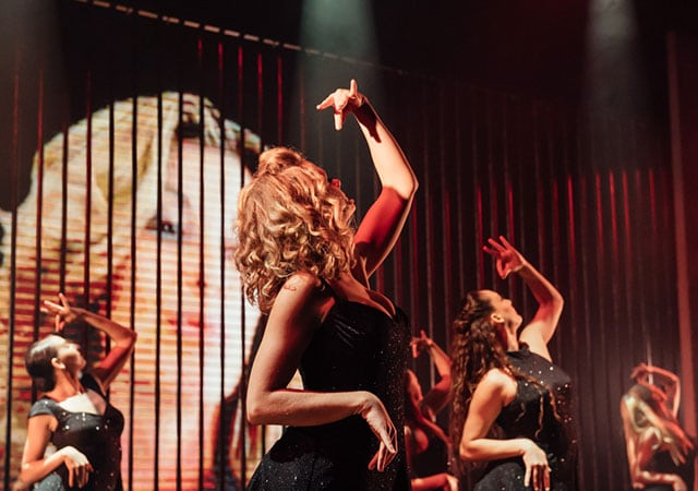 Dancers on a stage posing during a performance of Born to Dance