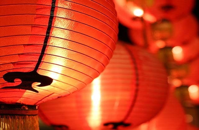 Chinese lanterns set out to celebrate the Chinese new year