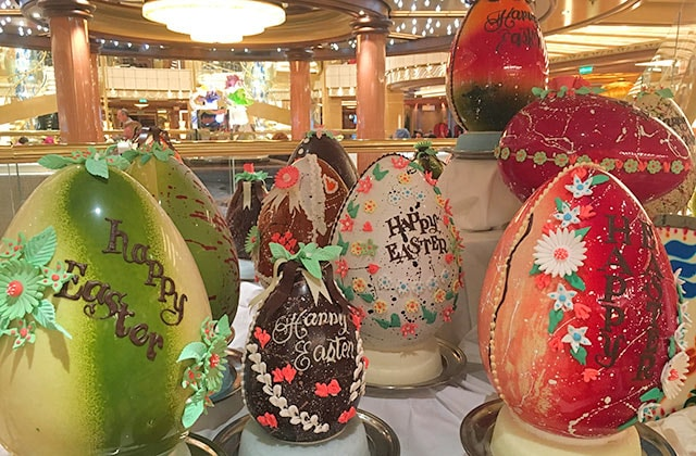 Easter decorations in the atrium of a princess ship