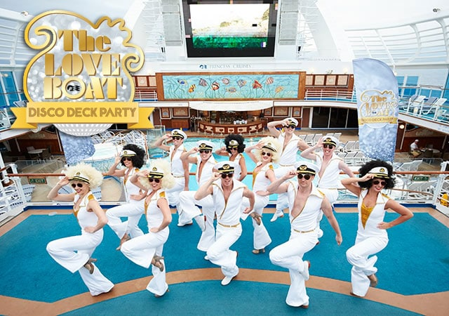 The Love Boat Disco Deck Party logo with dancers in 70's jumpsuits on deck of Princess ship