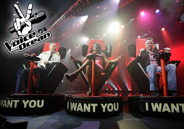 The Voice of the Ocean logo; 3 people in red chairs that say I want you at the bottom