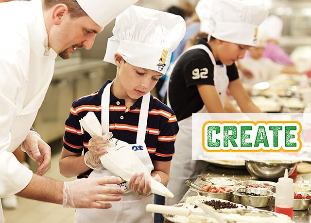 Create logo. Chef assisting a boy wearing a chef's hat and apron, holding a pastry bag
