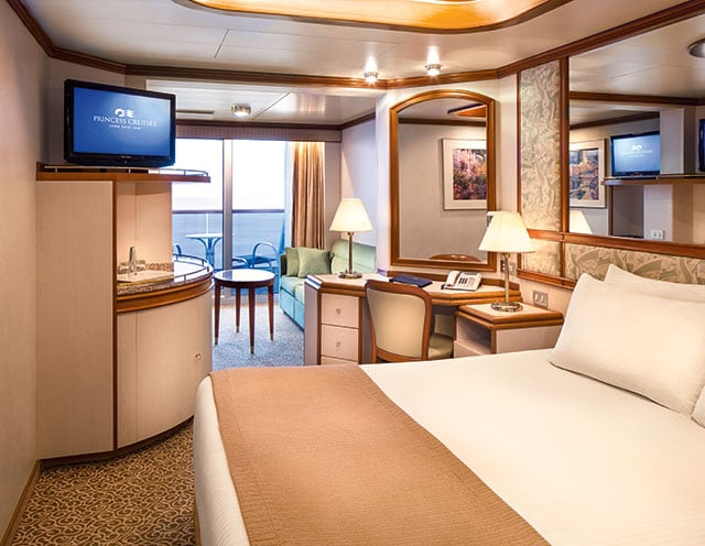 Comfortable accommodations on a Princess cruise