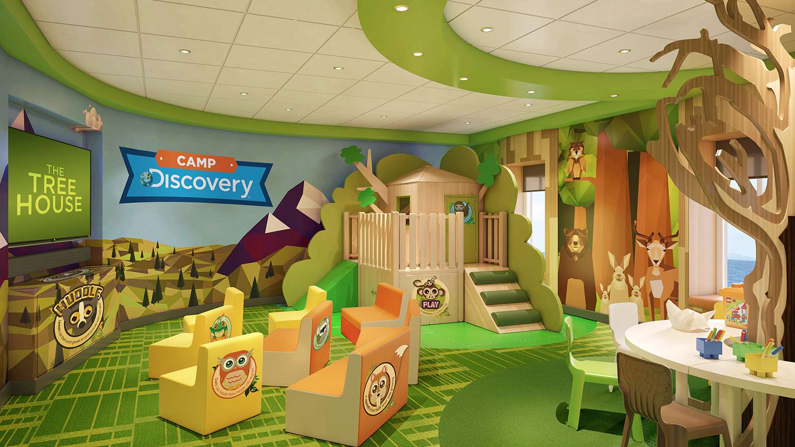 Childrens area with The Tree House and Camp Discovery on wall, wooden tree house, and TV