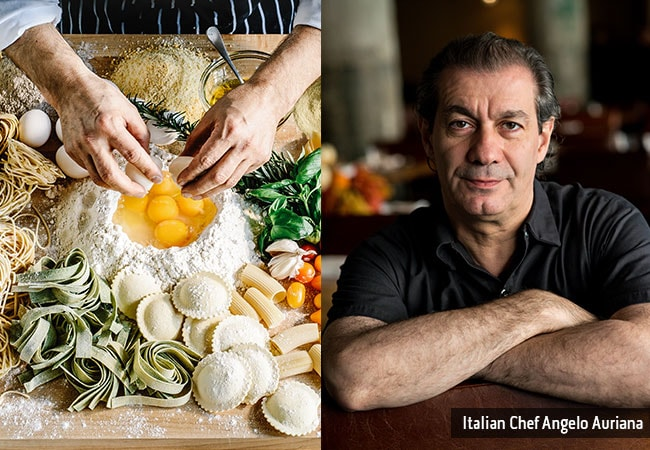 A pair of hands mixing ingredients and a headshot of Chef Angelo Auriana