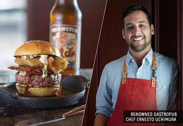 Renowned Gastropub Chef Ernesto Uchimura. The Ernesto burger on cast iron plate next to a Seawitch beer.